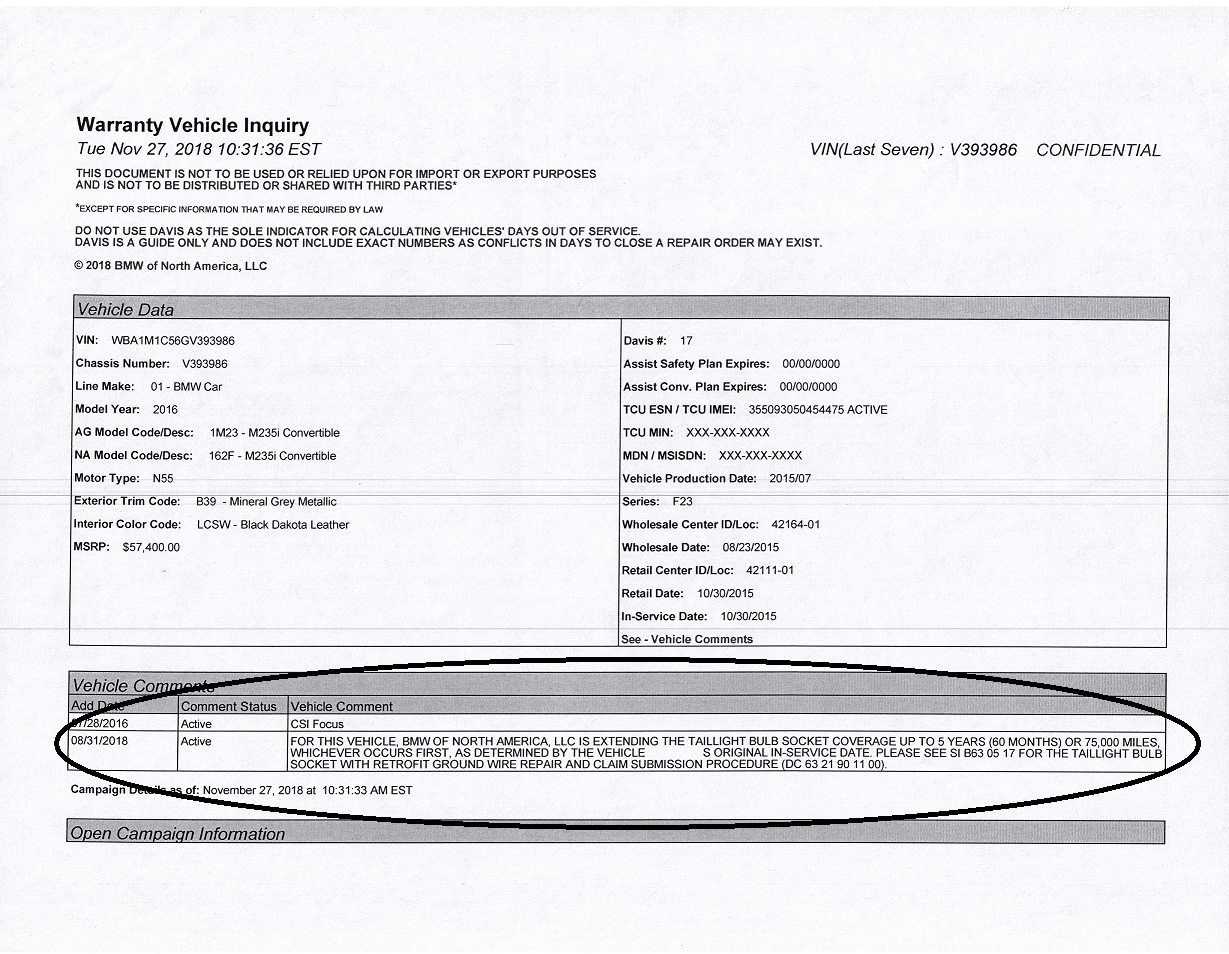Bmw Extended Warranty >> Extended Warranty For Tail Light Bulb Socket Repair