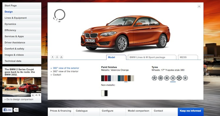 Bmw launches m235i 2 series online visualizer and Online visualizer